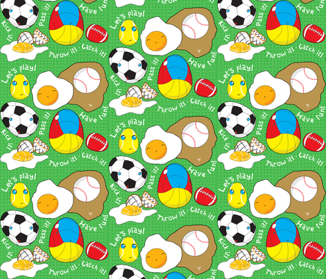 UNBORN CHICKEN PLAY SPORTS! fabric by majobv on Spoonflower - custom fabric