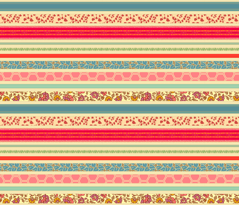 romantic ribbon stripe - tea stain fabric by littlerhodydesign on Spoonflower - custom fabric