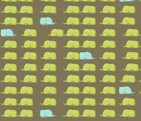 "CAMPER LOT in ""OTTER, LIME & LAKE"" fabric by trcreative on Spoonflower - custom fabric"