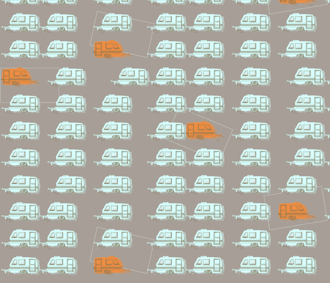 "CAMPER LOT in ""STONE, WATER & TANGERINE"" fabric by trcreative on Spoonflower - custom fabric"