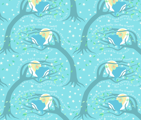 A lullaby: Rock a bye baby fabric by vo_aka_virginiao on Spoonflower - custom fabric
