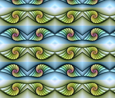 Sunrise Nautilus fabric by charrmer on Spoonflower - custom fabric