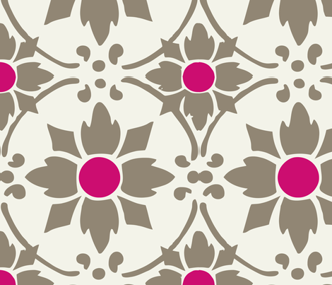 flower tile hotpink fabric by myracle on Spoonflower - custom fabric