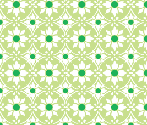 flower tile green fabric by myracle on Spoonflower - custom fabric