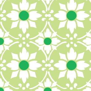 flower tile green