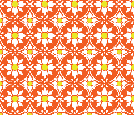 flower tile orange fabric by myracle on Spoonflower - custom fabric
