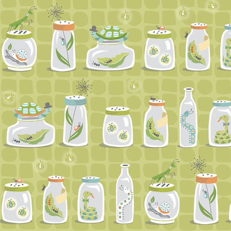 Bug Jars on Green fabric by pattysloniger on Spoonflower - custom fabric