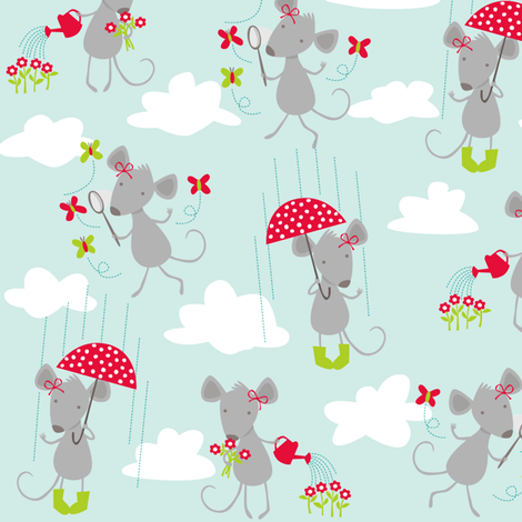 Milly Mouse in the Rain fabric by bzbdesigner on Spoonflower - custom fabric