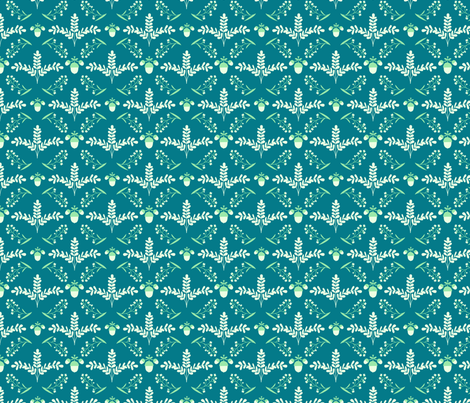 Acorn & Fern Damask fabric by something_nice on Spoonflower - custom fabric