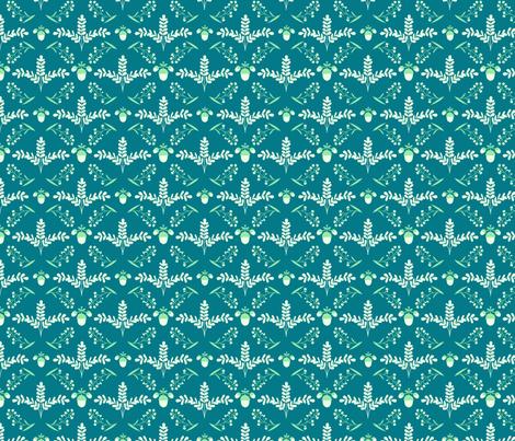 Acorn & Fern Damask fabric by something_nice on Spoonflower - custom fabric