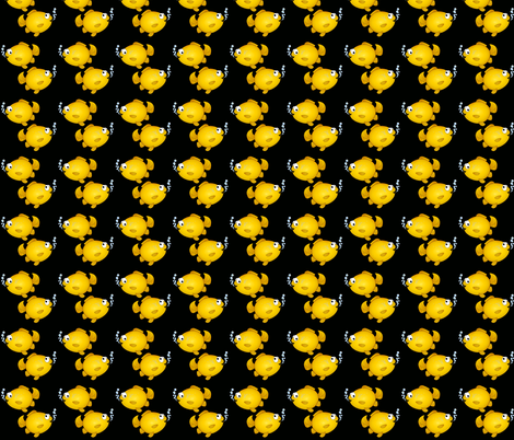 Yellow cartoon fish on black.