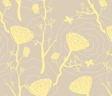 Dill yellow/grey fabric by bee&lotus on Spoonflower - custom fabric