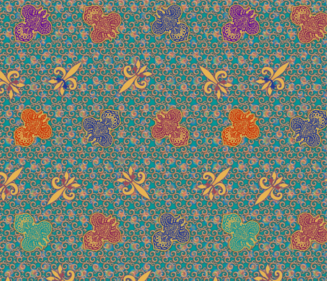 ©2011 Ornate Fleur de Lis fabric by glimmericks on Spoonflower - custom fabric