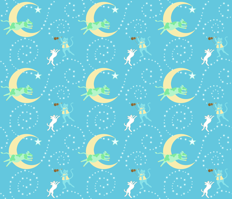 A lullaby: Hey diddle diddle fabric by vo_aka_virginiao on Spoonflower - custom fabric