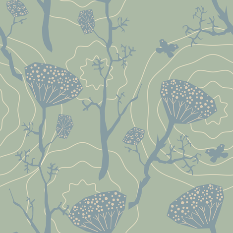 Dill blue fabric by bee&lotus on Spoonflower - custom fabric
