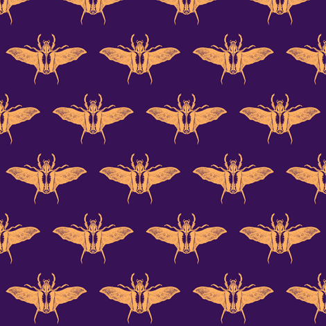 scarabs in flight peach/purple fabric by tallulah11 on Spoonflower - custom fabric
