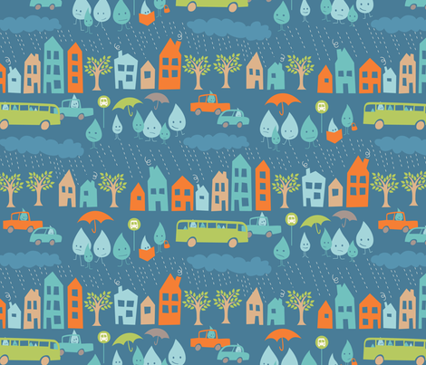 Standing Water (blue colorway) fabric by jennartdesigns on Spoonflower - custom fabric