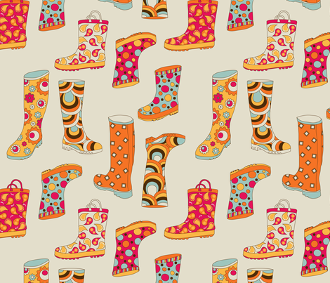 Rainboots in NYC Taupe fabric by deesignor on Spoonflower - custom fabric