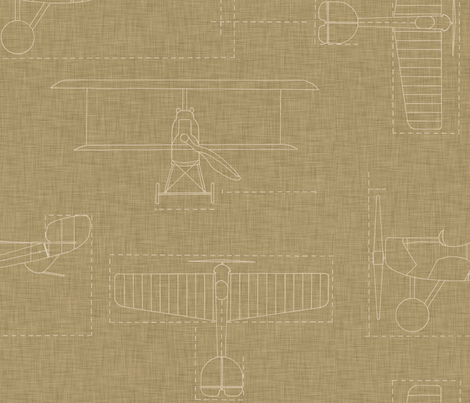 flight_school_blueprint_linen fabric by holli_zollinger on Spoonflower - custom fabric