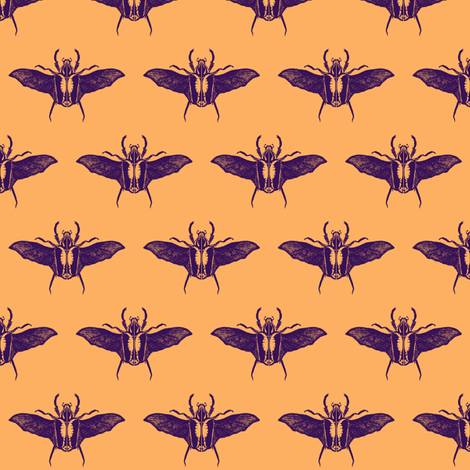 scarabs in flight purple/peach fabric by tallulah11 on Spoonflower - custom fabric