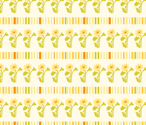 yellow flowers and stripes fabric by suziedesign on Spoonflower - custom fabric
