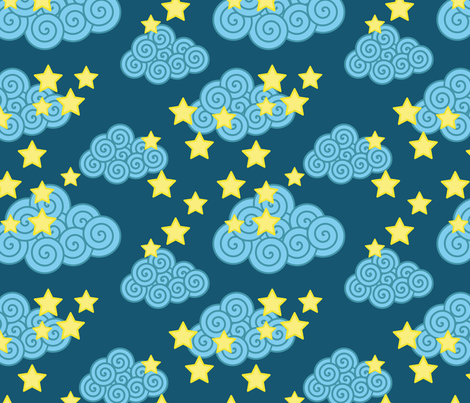 swirly clouds and stars fabric by suziedesign on Spoonflower - custom fabric