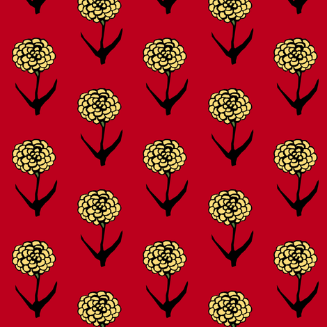 Yellow Zinnia fabric by pond_ripple on Spoonflower - custom fabric