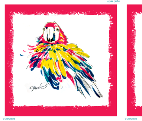 Scarlet Macaw Pillow Panel fabric by greerdesign on Spoonflower - custom fabric