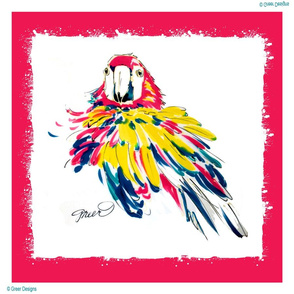 Scarlet Macaw Pillow Panel