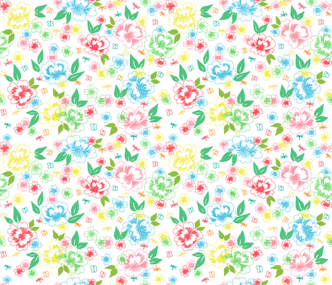 Printemps en fleur fabric by made_in_shina on Spoonflower - custom fabric