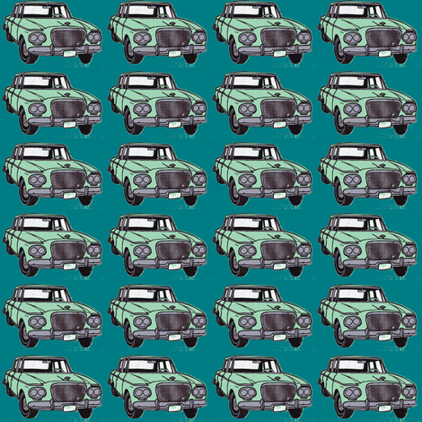 twin headlight Studebaker Lark, light green on teal fabric by edsel2084 on Spoonflower - custom fabric