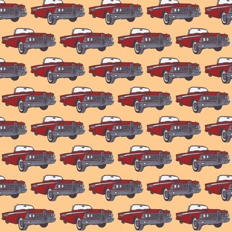red 1959 Corsair convertible on peach background fabric by edsel2084 on Spoonflower - custom fabric
