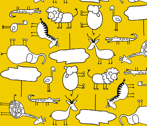 Doodle Safari fabric by mandyd on Spoonflower - custom fabric