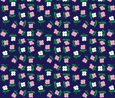 posies (dark blue) fabric by mossbadger on Spoonflower - custom fabric