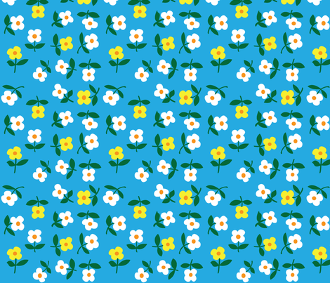 posies (light blue) fabric by mossbadger on Spoonflower - custom fabric