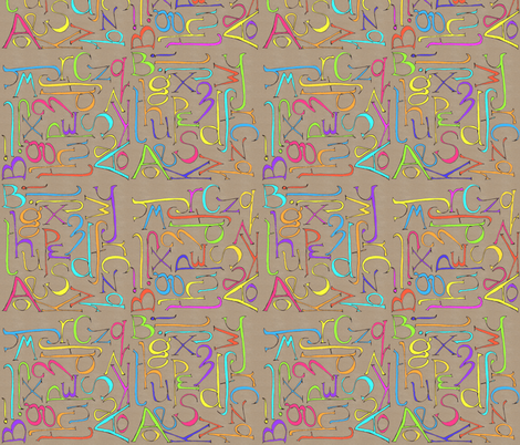 kraft_paper_alphabet fabric by wiccked on Spoonflower - custom fabric