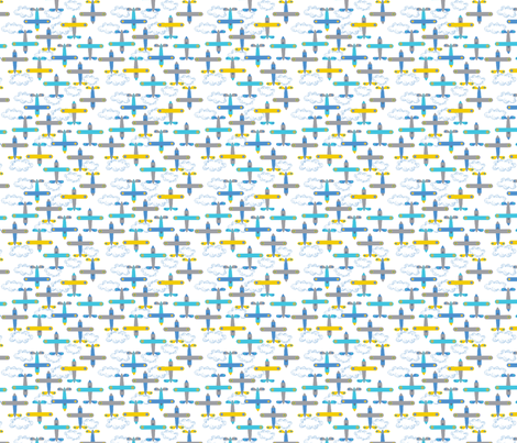 les_avions_de_léon_bleu fabric by nadja_petremand on Spoonflower - custom fabric