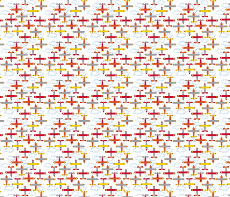 les_avions_de_léon_orange fabric by nadja_petremand on Spoonflower - custom fabric