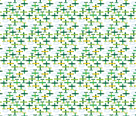 les_avions_de_léon_vert fabric by nadja_petremand on Spoonflower - custom fabric