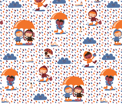A rainy day - white fabric by bora on Spoonflower - custom fabric