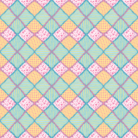 Harlequin Darling #1 with fur - 2 inch fabric by tallulahdahling on Spoonflower - custom fabric