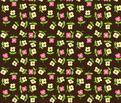 posies (brown) fabric by mossbadger on Spoonflower - custom fabric