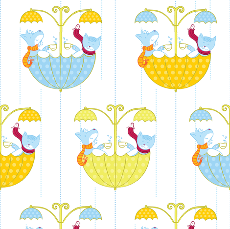 Tea Time in the Spring Time - © Lucinda Wei fabric by lucindawei on Spoonflower - custom fabric