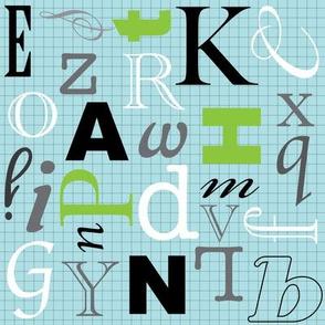Alphabet- Blue Grid