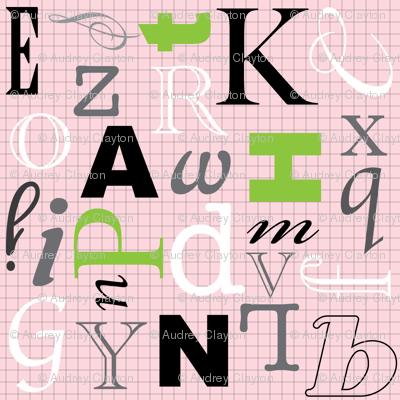 Alphabet- Pink Grid
