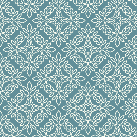 MARINE-BLUE-mini-papercut-cream-outlines fabric by mina on Spoonflower - custom fabric