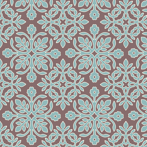COCOA-BROWN_2_papercuts_diagonal_AQUA_cream-lines fabric by mina on Spoonflower - custom fabric