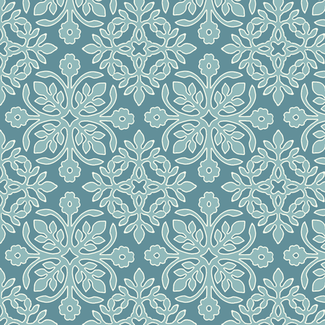 MARINE-BLUE_2_papercuts_diagonal_AQUA_cream-lines fabric by mina on Spoonflower - custom fabric