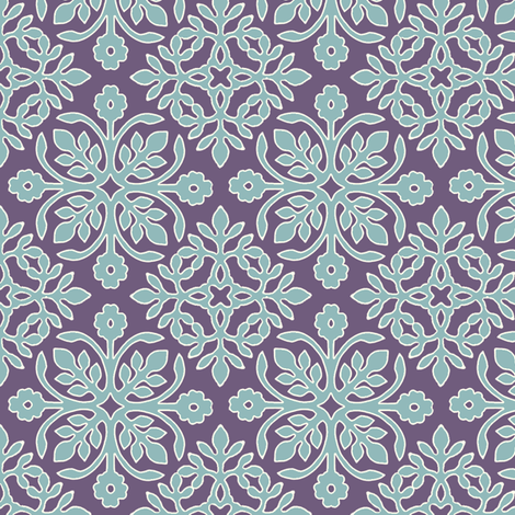 EGGPLANT_2_papercuts_diagonal_AQUA_cream_outlines fabric by mina on Spoonflower - custom fabric