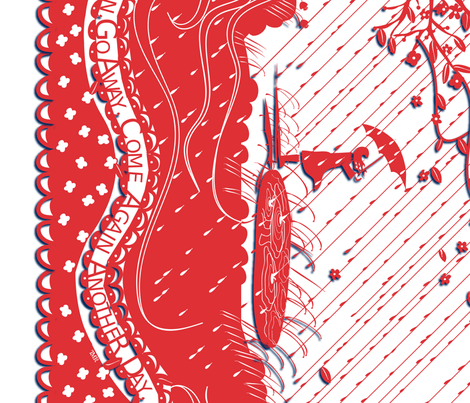 "RAIN, RAIN GO AWAY in ""CHERRY"" (click to see full border) fabric by trcreative on Spoonflower - custom fabric"